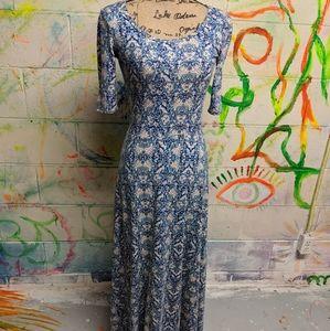 Blue Floral LulaRoe Ana Half Sleeve Maxi Dress